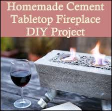 cement tabletop fireplace diy project