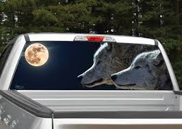 Wolves Full Moon Rear Window Graphic Decal Miller Graphics