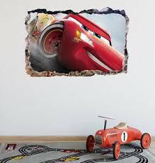 Cars 3 Lightning Mcqueen Smashed 3d Wall Decal Mural Art Home Decor Vinyl Da126 Ebay