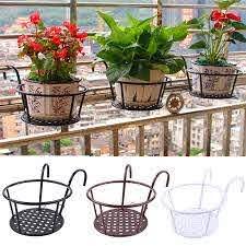 Outdoor Hanging Basket Plant Iron Racks Fence Balcony Round Flower Pot Decor Lazada Ph