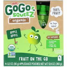 gogo squeez organic applesauce apple