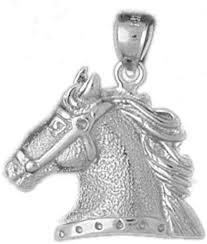 white gold horse head pendant