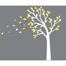 Yellow And Gray Blowing Tree Decal For Nursery For Boys