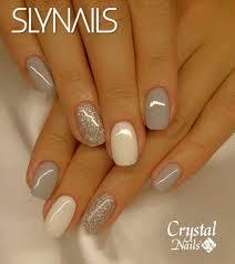 Nail Combo Gray White Silver Glitter Ladne Paznokcie