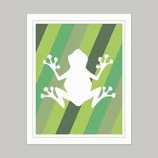 Green Frog Design Art Print Wall Decor Stickers