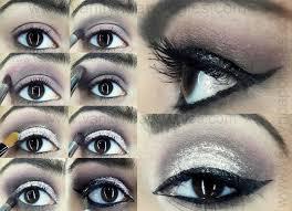dramatic smokey silver grey glitter eye