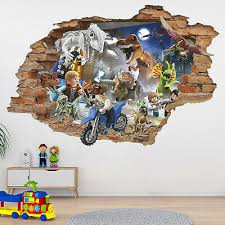 Lego 3d Wall Decal Lego Jurassic Park Wall Sticker Lego Dinosaur Removable Ebay