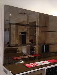 custom designed bar mirror shelves