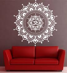 Namaste Mandala Wall Sticker Black Or White Yoga Decor Mandala Decals Mandala Wall Art