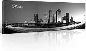 Amazon Com Houston Skyline Wall Art For Living Room Cityscape Canvas Modern Home Decor Panorama Pictures City Building House Decorations Skyscraper Artwork Black And White Posters And Prints 12x46 Inch 1 Pcs Posters