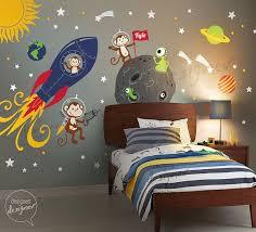 Space Wall Decal Rocket Ship Alien Planet Monkey Astro Boys Kids Wall Decal Wall Sticker Dd1072 Kids Wall Decor Themed Kids Room Kid Room Decor
