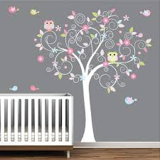 Tree Wall Decal Flowers Owls Birds Baby Room Decals Nursery Etsy Nursery Wall Decals Girl Nursery Wall Tree Wall Decal
