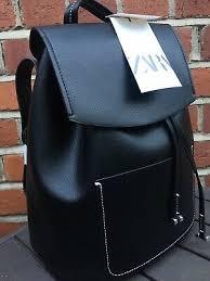 zara black topstitched backpack new