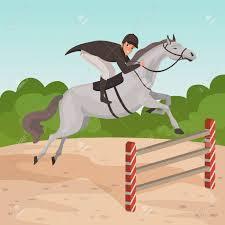 Smiling Man Jockey On Gray Horse Jumping Over Hurdle Male Character Royalty Free Cliparts Vectors And Stock Illustration Image 93531348