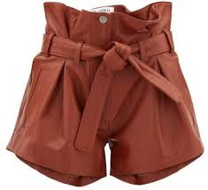 leather shorts womens brown