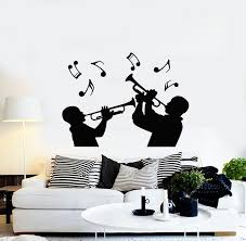 Vinyl Wall Decal Trumpet Musical Instrument Trumpeters Music Notes Sti Wallstickers4you