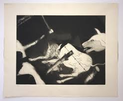 Francisco Toledo Man And Cows With Barbed Wire Fence 1985 Etching For Sale