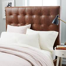 leather grid tufted headboard tall