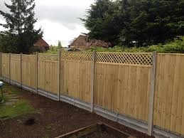 Garden Fence Close Board Panels Concrete Posts And Gravel Boards 12 X6ft Trellis On Top Fence Design Concrete Posts Garden Design