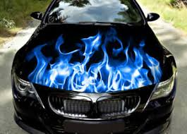 Blue Flame Car Hood Wrap Decal Vinyl Sticker Full Color Graphic Fit Any Car Ebay