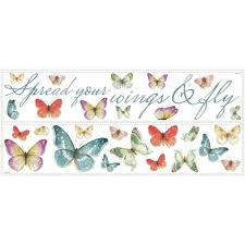 Roommates 5 In X 11 5 In Lisa Audit Butterfly Quote 28 Piece Peel And Stick Wall Decals Rmk3263scs The Home Depot