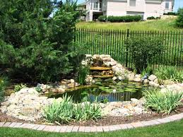 Beautiful Waterfall And Has A Wire Fence Around It Outdoor Ponds Backyard Landscaping Backyard