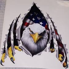 American Flag Eagle Rip Threw Trailer Rv Motorhome Camper Car Truck Suv Window Decal Decals Sticker