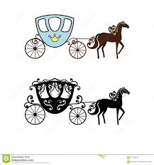 Silueta Hermosa Del Carro Del Vintage Con El Caballo Ilustracion