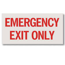 Emergency Exit Only Decal The Fire Safe Store