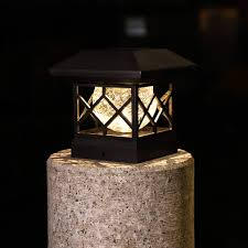 Patio Lawn Garden Post Lights Solar Post Cap Lights Outdoor Deck Or Garden Decoration Waterproof Led Fence Post Solar Lights For 4x4 Wood Posts In Patio 2 Pcs