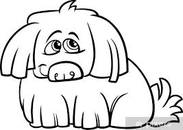 Fotobehang Schattige Harige Hond Cartoon Kleurplaat Pixers We