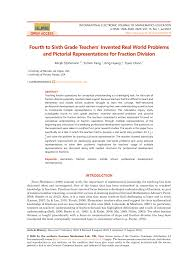 PDF) Fourth to Sixth Grade Teachers' Invented Real World Problems and  Pictorial Representations for Fraction Division