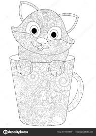 Kitten In A Cup Coloring Raster For Adults Stock Photo