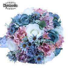 Kyunovia خمر الحرير الأزرق الزهور البرية باقة ورد لحفل الزفاف عادي