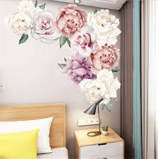 Amazon Com Peony Rose Flowers Wall Stickers Pink Floral Wall Decals Vintage Removable Wall Decor Pvc Floral Wall Sticker Mural For Nursery Living Room Arts Crafts Sewing