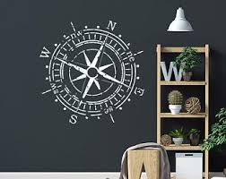 Compass Wall Decal Bedroom Decor Wanderlust Decal Nautical Etsy