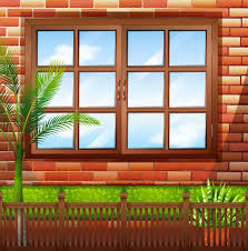 Side Of Building With Brick Wall And Window Download Free Vectors Clipart Graphics Vector Art