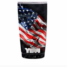 Skin Decal Vinyl Wrap For Yeti 20 Oz Rambler Tumbler Stickers Skins Cover American Flag Waving Walmart Com Walmart Com