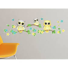 Amazon Com Owls On Branches Fabric Wall Decal Yellow Set Of 3 Owls On Tree Branches With Flowers And Butterflies 4 Color Options Non Toxic Reusable Repositionable Baby
