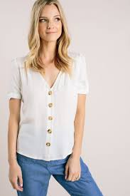 Abby White V-Neck Button Top - Morning Lavender | Spring outfits ...