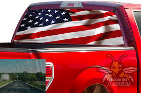 Flag Usa Rear Window Decals Perforated Vinyl Ford F150