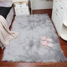 luxury white faux fur rug long