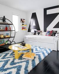 White Lacquer Kids Daybed With Blue Chevron Rug Contemporary Boy S Room