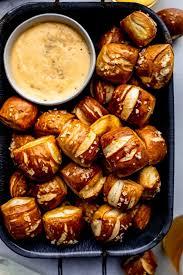 pretzel bites with cheese dip 3 ways