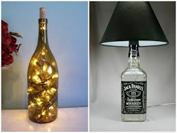 table lamp with recycled bottles