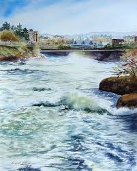 Mighty Spokane River Painting by Priscilla Patterson