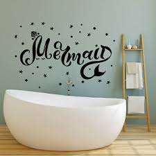 Vinyl Wall Decal Mermaid Inscription Stars Sea Ocean Bathroom Stickers G1279 Ebay