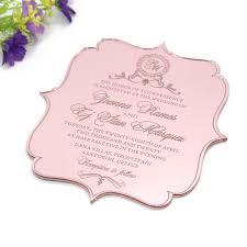 10 Uds Invitaciones Personalizadas De Espejo Acrilico Dorado Rosa