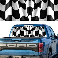 Waving Checkered Flag Rear Window Graphic Perforated Decal Truck Window Wrap Auto Parts And Vehicles Car Truck Graphics Decals Magenta Cl