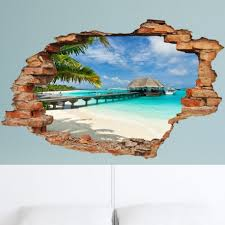 Wall Decal Landscape Beach Palms And Bungalow Cheap Wall Stickers Discount Wall Stickers Madeco Stickers